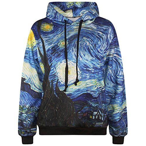 TOPDCLSN Starry Night Männer 3D-Sweatshirt Mode drucken Van Gogh Öl malerei Hooded Sweats Trainingsanzüge Hoody mit Taschen, AE 5, XL