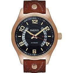 PARNIS Herren Automatik Fliegeruhr 3247 Saphirglas Datumsanzeige 10BAR Miyota Uhrwerk Ø43mm massiv Edelstahl