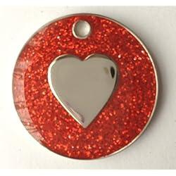 Chat chien personnalisé avec cœur en Paillettes Rouge Médaille d'identification gravée