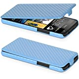 DONZO Flip Carbon-Style Funda para HTC Desire 300 azul