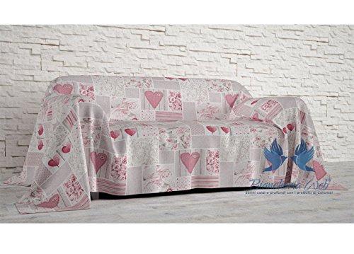Coingrostex telo arredo grand foulard copritutto copridivano, misura 1 piazza, disegno shabby