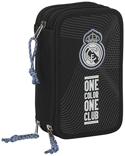 Real Madrid Plumier Triple 41 Piezas (SAFTA 411757057), Color Negro, ampUacutenica