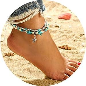 Simsly – Silberfarbenes Fußkettchen mit Muscheln und einer Meeresschildkröte, Schmuck für Damen und Mädchen