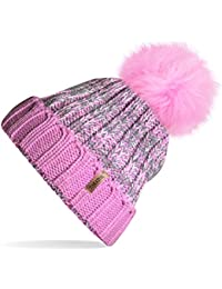 a56a9ae0aaf2f TOSKATOK®Womens Winter Rib Knitted Hat Beanie with Detachable Chunky Faux  Fur Bobble Pom