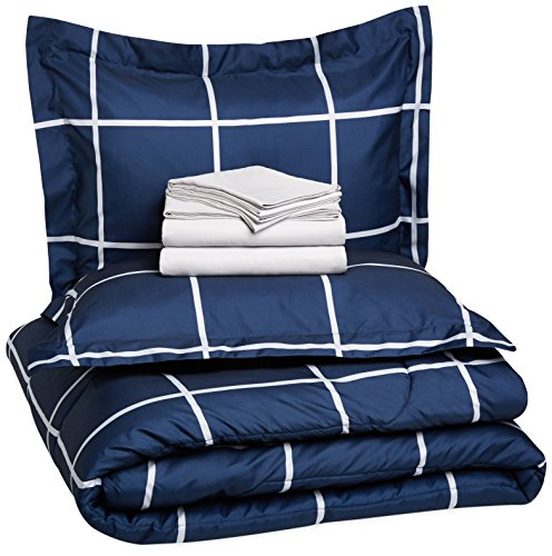 AmazonBasics 7-Piece Bed-in-A-Bag - Full/Queen, Navy Simple Plaid (Includes 1 bedsheet, 1 Comforter, 4 Pillowcases, 1 Fitted Sheet)