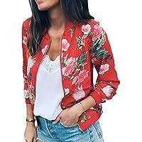 Mujer Floral Impreso Cuello Redondo Cremallera Chaqueta Manga Larga Abrigo Outwear S-XL
