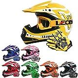 Leopard LEO-X17 Casques Motocross & Gants d'enfants & Lunettes pour Enfants - Jaune XL (55cm) - Casque de Moto de Bicyclette ATV ECE 22-05 Approbation