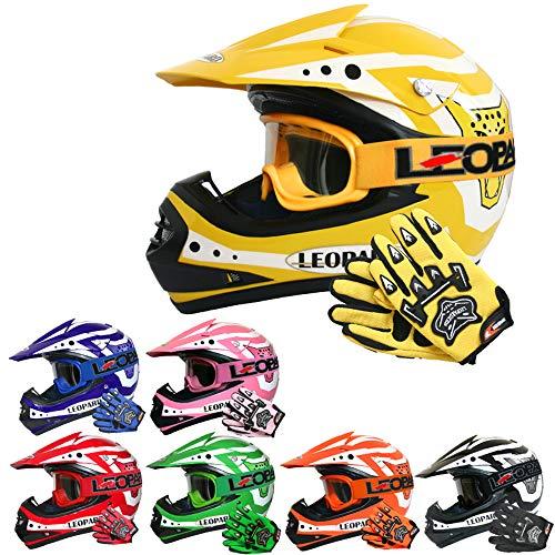 Leopard LEO-X17 Casco da Motocross per Bambini e Occhiali e Guanti da Motocross per Bambini - Giallo M (51-52cm) - Cross e off-Road Motocicletta ATV Quadrilatero ECE 22-05 Approvato