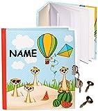 Unbekannt Tagebuch mit Schloss -  lustige Erdmännchen  - incl. Name - blanko weiß - Dickes Buch gebunden - 96 Seiten - für Geheimnisse Reisetagebuch / Notizbuch - 2 S..
