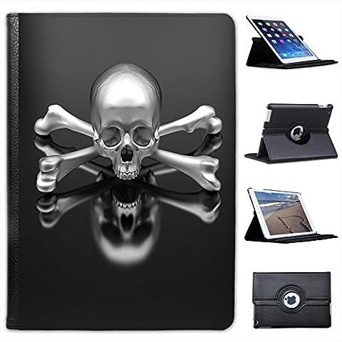 Skulls-Custodia in finta pelle con funzione di supporto per Apple iPad, modelli nero Chrome 3D Skull & Crossbones iPad