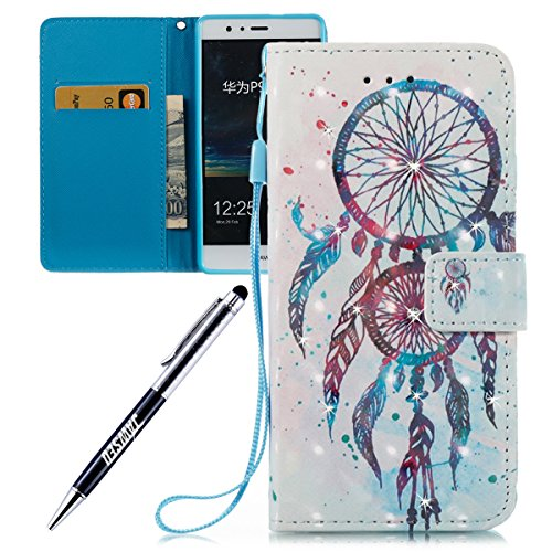Huawei-P9-Lite-Custodia-Huawei-P9-Lite-Cover-JAWSEU-Huawei-P9-Lite-Custodia-Pelle-Portafoglio-Diamante-Lusso-3D-Modello-Design-Creativo-PU-Leather-Wallet-Flip-Cover-Custodia-per-Huawei-P9-Lite-Copertu