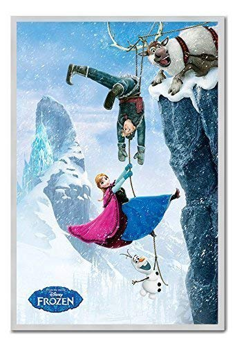 iPosters Disney Frozen Die Film Cliffhanger Poster Magnettafel Silber gerahmt, 96,5x 66cm (ca. 96,5x 66cm)
