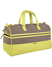 Veuza Madrid Premium Jacquard And Faux Leather Grey Duffel Bag