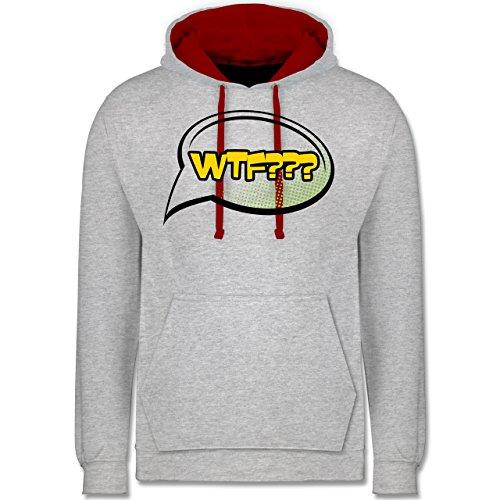 Comic Shirts - WTF - What the fuck Sprechblase - Kontrast Hoodie Grau Meliert/Rot