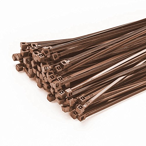 100 Stück Kabelbinder 200mmx3,6mm für Zaun Schattiernetz Zaunblende in braun -