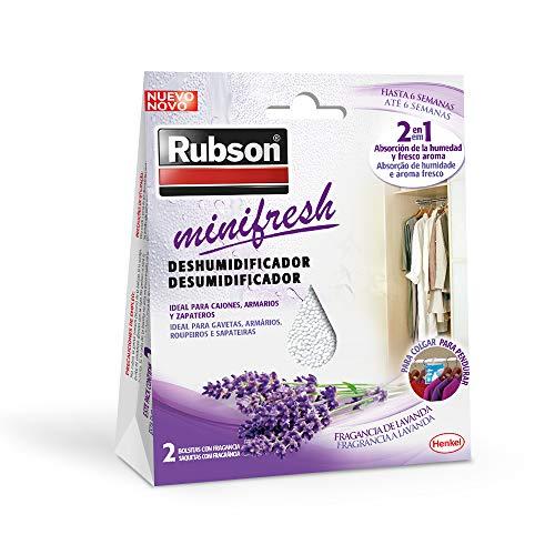 Rubson Minifresh, deshumidificador y ambientador de lavanda, bolsas deshumidificadoras en formato percha...