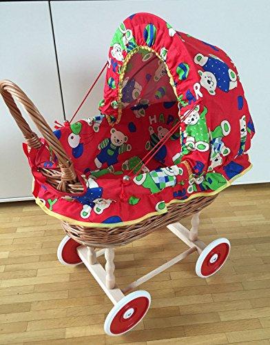 Rattan Korb Nostalgie Kinder Puppenwagen Holzpuppenwagen Spielzeug Holz Weide inkl.Decke Kissen Bär rot