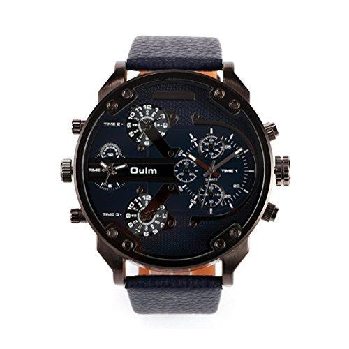 WINOMO Oulm Männer Uhren Jungen-Armbanduhr Quarz PU-Band Uhr (schwarz)