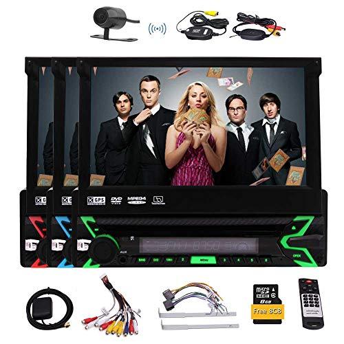 7-Zoll-Retractable Touch Screen In-Dash Einzel Din Autoradio GPS-Auto-Stereo Bluetooth-GPS-Navigation Auto-DVD-CD-MP3-Player USB/SD/AUX/Wireless Fernbedienung und Rückseiten-Kamera & Free 8GB K