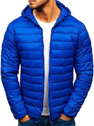 BOLF Herren Übergangsjacke Steppjacke Daunenjacke Sportjacke Freizeitjacke Kapuze Reißverschluss Street Style J.Style LY1001 Blau XXL [4D4]