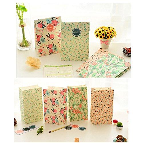 Global Brands Online - Bolsa de papel para manualidades, diseño de flores con pegatina para regalo de Navidad, bodas y fiestas