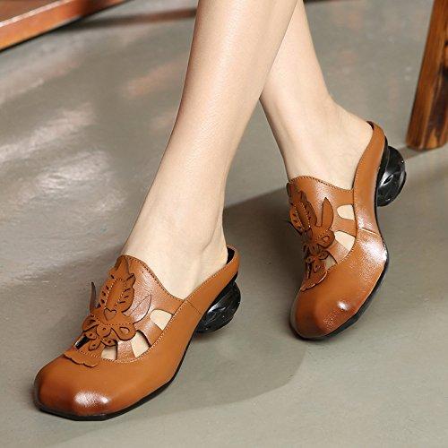ZYUSHIZ  Version coréenne de l'été Sandales Pantoufles Les personnes âgées au style minimaliste 35EU