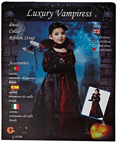 Kinder Halloween Amazon Für Kostüme (Amurleopard Kinder Kostüm für Mädchen Schwarz Königin XL (Körpergröße:130-140)