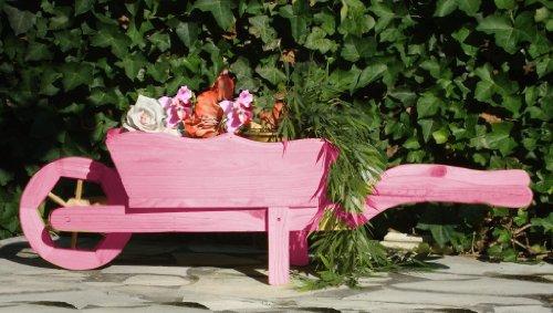 Grosser Schubkarren, Holzschubkarre, Garten - Schubkarre Deko 125 cm, Pflanztrog, Pflanztopf mit Holz - Deko HSC-125-PINK Blumentopf, Holz, rot pink rosa rosarot umweltfreundlich lasiert mit Lasur auf Wasserbasis Pflanzgefäß, Pflanztöpfe Pflanzkübel