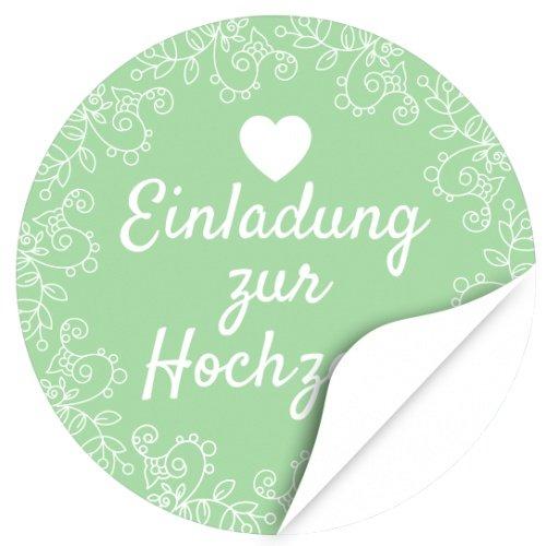 iketten, rund / Grün / Hochzeit / Liebe / Herz / Einladung / Aufkleber / Sticker / Heiraten (Grüne Hochzeit Einladungen)