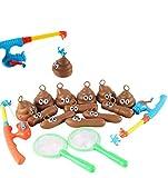 Spielzeug 2*Fishing Rod + 2*net Fishing + 12*Cartoon doll Lernspielzeug Säugling Baby Jungen Mädchen Princess Bad Angeln Spielzeug Baby Badewanne Spielzeug im Badewanne Fischen-Spiel (B)