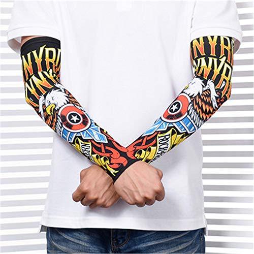 Jinrui-sport manicotto del tatuaggio estate in sella alla protezione solare da pesca per uomo in seta di ghiaccio, tutti i cantieri, ali d'angelo 2 pacchi