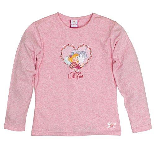 Prinzessin Lillifee by Salt & Pepper Mädchen Langarmshirt L Longsleeve Lillifee, Rosa (Powder Rose Melange 808), 116