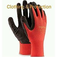 24paia di guanti da lavoro, rivestiti in lattice durevole, con salda presa di sicurezza, adatti per giardinaggio, XL - 10, Black / Red, 60