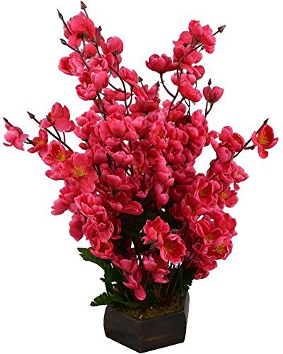 Kaykon Beautiful Artificial Red Orchid Flowers with Wooden Pot For Home Decor - 17 inch