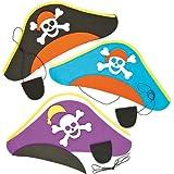 Baker Ross Kits de Sombrero Pirata y Parche para el Ojo Manualidades Creativas para Niños Fiestas de Disfraces Infantiles (Pack de 3)