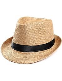 Amlaiworld Gorras Gorras de Hombre Mujer Unisex Trilby Gangster Mujer  Hombre Sombrero de Paja de Sol de 4b6218bd706