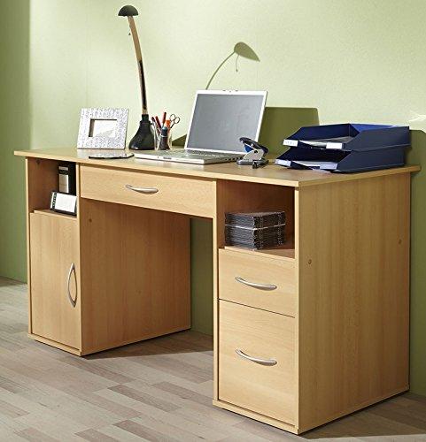 VCM Schreibtisch Tisch Computertisch Laptop PC Fach Schubladen Buche Tallinn Büro Möbel 73 x 145 x 60 cm
