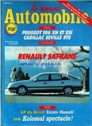 semaine-automobile-la-no-287-du-11-04-1992-peugeot-106-xn-et-xsi-cadillac-seville-sts-renault-safran