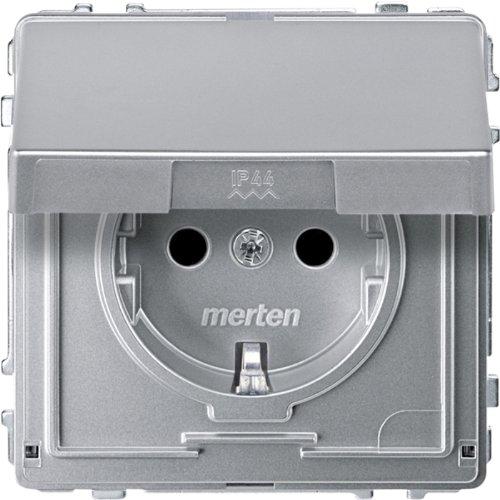Merten MEG2310-7260 SCHUKO-Steckdose mit Klappdeckel, BRS, Steckklemmen, aluminium, AQUADESIGN -