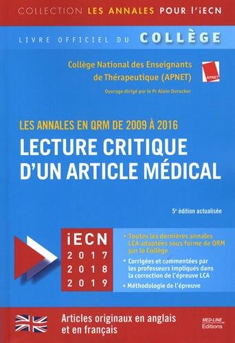 Lecture critique d'un article mdical : Les annales en QRM de 2009  2016