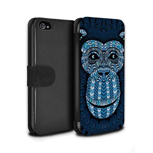 Stuff4® PU-Leder Hülle/Case/Tasche/Cover für Apple iPhone 4/4S / AFFE-Blau Muster/Aztec Tier Muster Kollektion (Affe Iphone 4s)