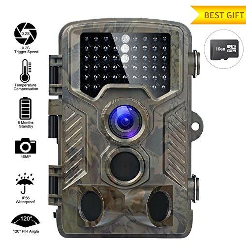 Fivanus Wildkamera 16MP 1080P Wildkamera Fotofalle Low-Glow-Infrarot 20m Nachtsicht Jagdkamera 120°Breite Vision 25m Erfassungsbereich Wasserdicht IP56 Überwachungskamera Nachtsichtkamera