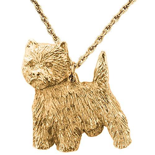 West Highland White Terrier Hergestellt in U.K. Kunstvolle Hunde- Anhänger Sammlung (22 Karat Vergoldung / gold plattiert) (Hund Terrier Highland Figur White)