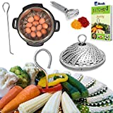"Kitchen Deluxe Premium Vegetable Steamer Basket - 5.5-9.3"" - Best Bundle 100% Stainless Steel - Bonus 2 in 1 Julienne Veggie Peeler, Hook Insert & Food eBook – Instant Pot Pressure Cooker Safe"