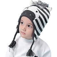 Aclth Chicos de Invierno para niñas Sombrero de niños Super Lindo Cebra Cara de Punto con Orejeras de Invierno para niñas niños para Actividades de Snowboard al Aire Libre (tamaño : L)