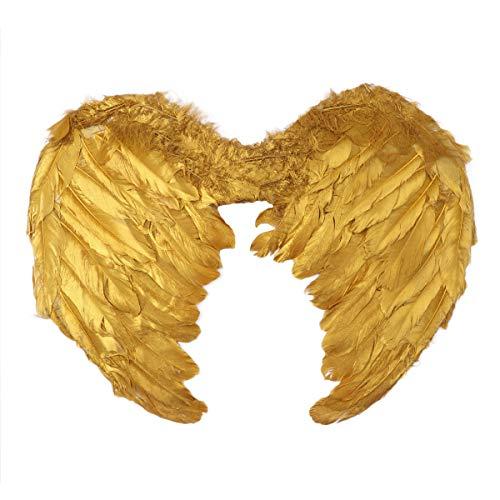Agoky Mädchen Engel Kostüm Flügel mit mit Federn Kinderkostüm Party Spielzeug Festtage Verkleiden Zubehör Gold Klein - Engel Kostüm Für Kleine Mädchen