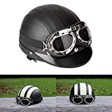 ViZe Cascos Moto Perno Medio Casco Abierto Motocicleta Unisex Protección Motocicleta Con Visera y Bufanda 54-60 cm (Negro)
