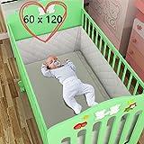 Qulista erholsamer Schlaf - Bettumrandung Bed Bumper atmungsaktiv Bettnestchen für Babybett Bett-Bumper (60 x 120 x 30 cm)