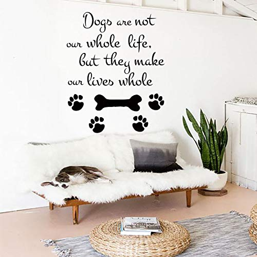 yiyiyaya Hund Wandaufkleber Salon Dekoration Haustiere Hund Wandtattoo Abnehmbare Vinyl Haustiere Hund QuoteWandaufkleberHaustiere Shop Kunst42 * 52 cm