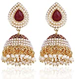 Shining Diva Red Gold Plated Jhumki Earr...